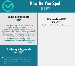 Correct spelling for rep