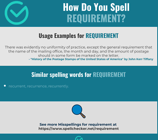 Correct spelling for requirement