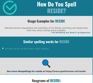 Correct spelling for reside