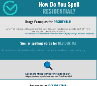 Correct spelling for residential
