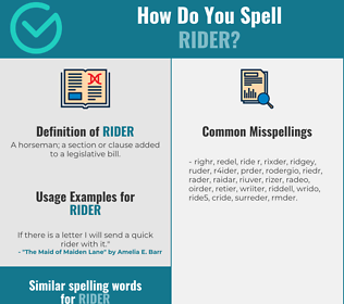 Correct spelling for rider