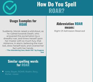 Correct spelling for roar