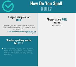 Correct spelling for roil