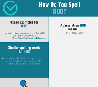 Correct spelling for rub