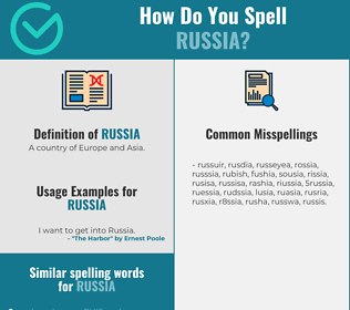 Correct spelling for russia