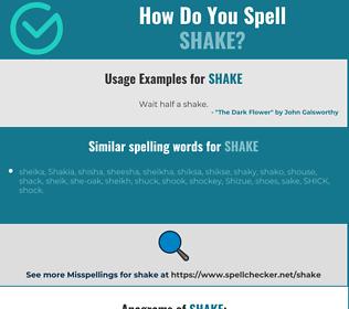 Correct spelling for shake