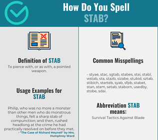 Correct spelling for stab