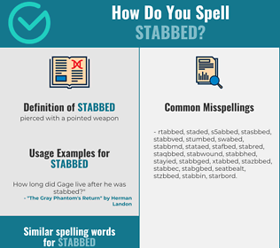 Correct spelling for stabbed