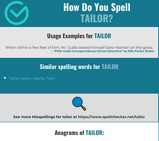 Correct spelling for tailor