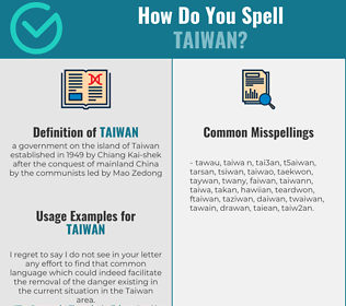 Correct spelling for taiwan