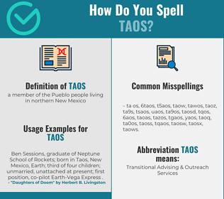 Correct spelling for taos