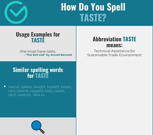 Correct spelling for taste