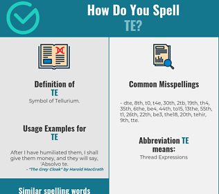 Correct spelling for te
