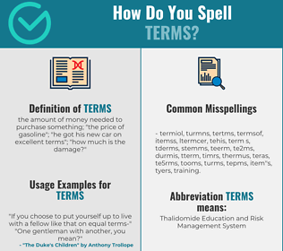 Correct spelling for terms