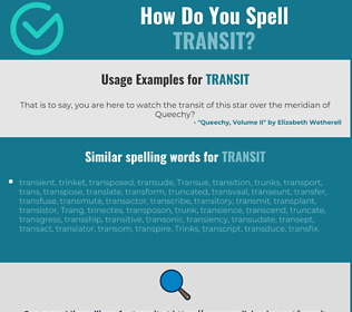 Correct spelling for transit