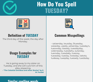 Correct spelling for tuesday