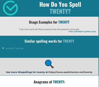 Correct spelling for twenty