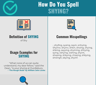 Correct spelling for Shying