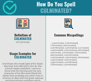 Correct spelling for Culminated