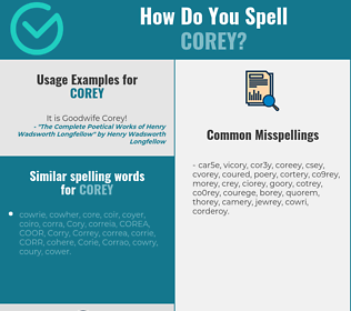 Correct spelling for Corey