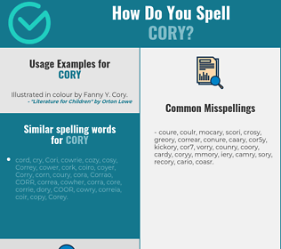 Correct spelling for Cory
