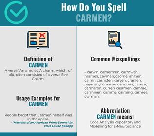 Correct spelling for Carmen