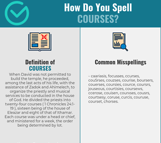 Correct spelling for courses