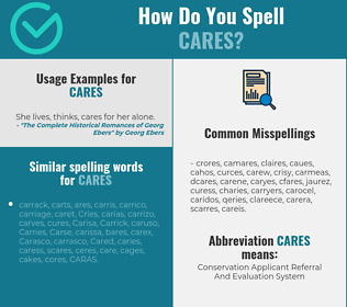 Correct spelling for cares