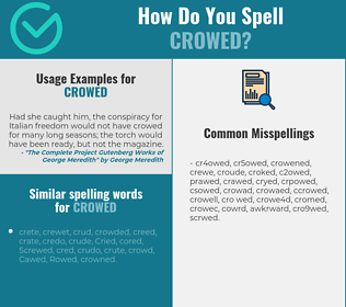 Correct spelling for crowed