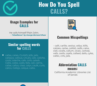Correct spelling for calls