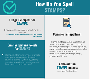 Correct spelling for stamps