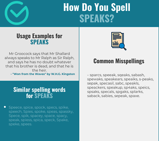 Correct spelling for speaks