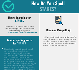 Correct spelling for stares