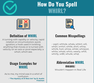 Correct spelling for whirl