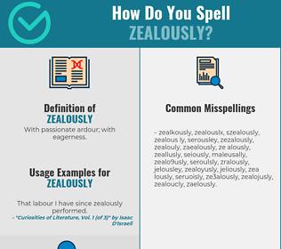Correct spelling for zealously