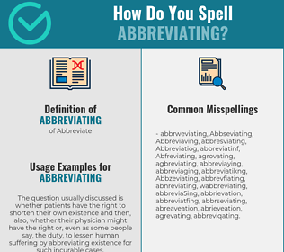 Correct spelling for Abbreviating