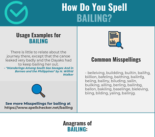 Correct spelling for Bailing
