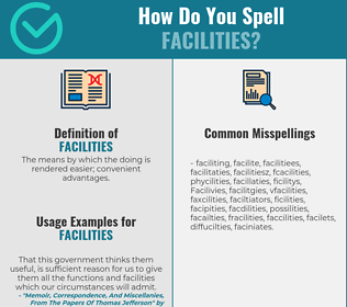 Correct spelling for Facilities