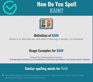Correct spelling for Kain