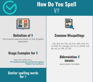 Correct spelling for V