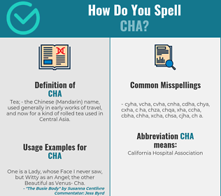 Correct spelling for Cha