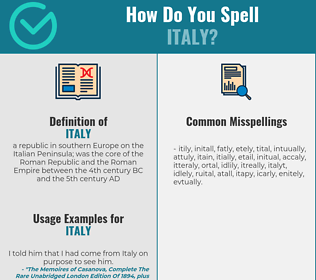 Correct spelling for Italy