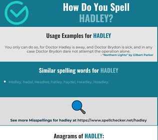 Correct spelling for Hadley