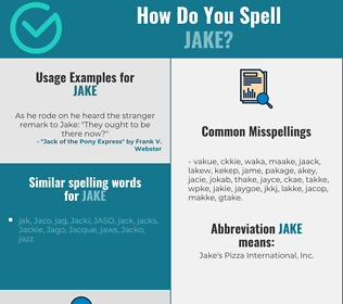Correct spelling for Jake