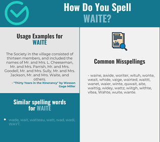 Correct spelling for Waite