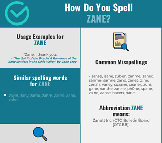 Correct spelling for Zane