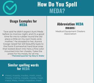 Correct spelling for Meda