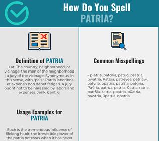 Correct spelling for Patria