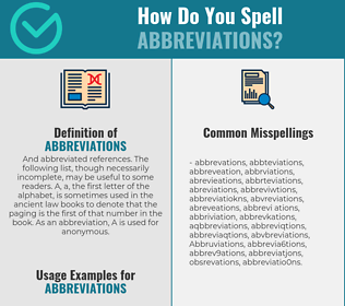Correct spelling for Abbreviations