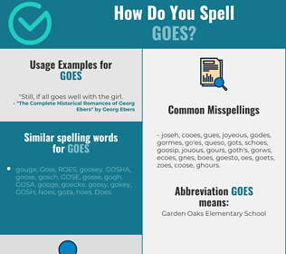 Correct spelling for goes